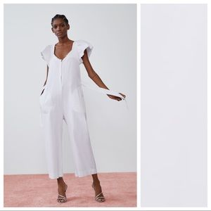 NWT. Zara White Rustic Jumpsuit. Size S.